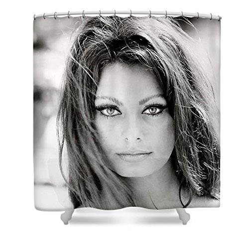 Pixels Shower Curtain (74'' x 71'') ''Sophia Loren'' by Pixels