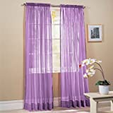 Sheer curtains drape valance 78 x 35 panel - 8 Color Options 1 Piece (Purple)