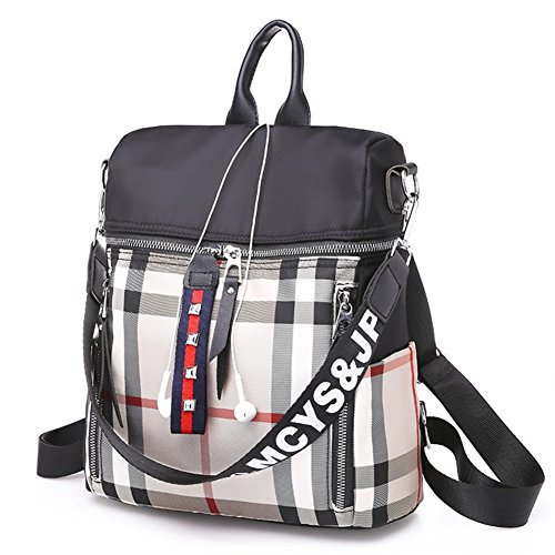 Ladies B Double Impression Shoulder Plaid Square Tissu Sac à A D'admission Dos Oxford Forfaits 7r70qTw