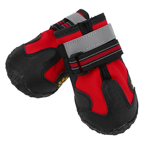 Red Size M 4Pcs/set Waterproof Pet Dog Shoes Outdoor Sport Non Slip Shoes for Winter Warm Dog Boots