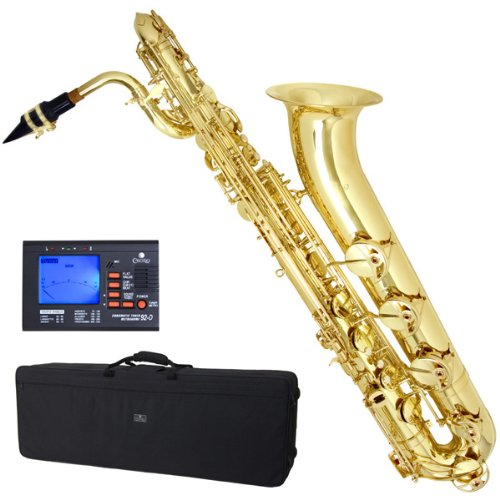 Cecilio BS-380L + 92D 3-serie lak geel messing intermediaire Eb baritonsaxofoon met tuner, Pro-deluxe behuizing en mondstuk