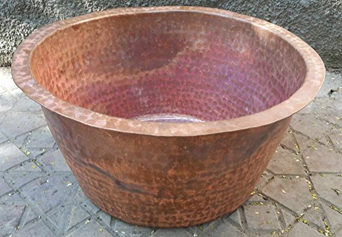 Containers Garden Planters Urns (Egypt gift shops French Architectural Large Hand Hammered Natural Copper Cauldron Urn Planter Jardiniere Baby Bathtub Bath Tub Foot Water Massage Pedicure Spa Basin Outdoors Pool Log Bin)