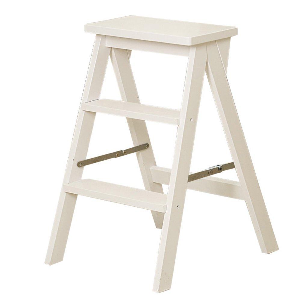 ERRU- Marchepieds escamotables Tabouret escabeau pliable en bois massif à double usage Escalier créatif chaise escabeau