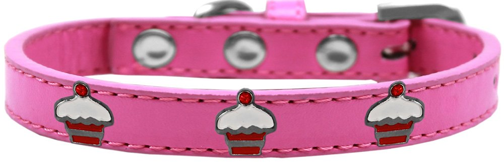 Mirage Pet Products 631-28 BPK14 Red Cupcake Widget Dog Collar, Size 14, Bright Pink