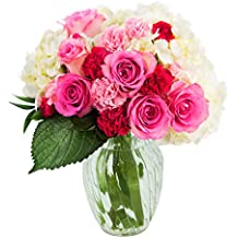 Let Them Eat Cake Bouquet of Pink Roses and White Hydrangeas Accented with Red & Pink Carnations and Lush Greens with Vase