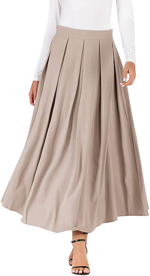 Shenye - Falda Larga para Mujer, Talla Alta Negro Beige XL: Amazon ...