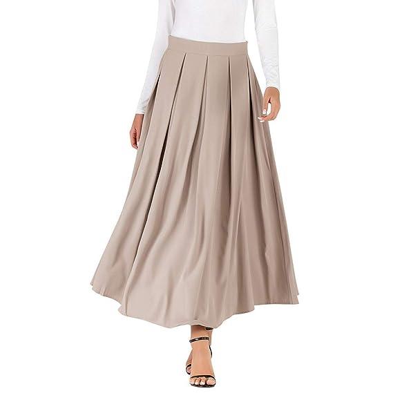 Faldas Largas Mujer Elegante Swing Falda Color Sólido Tamaño ...