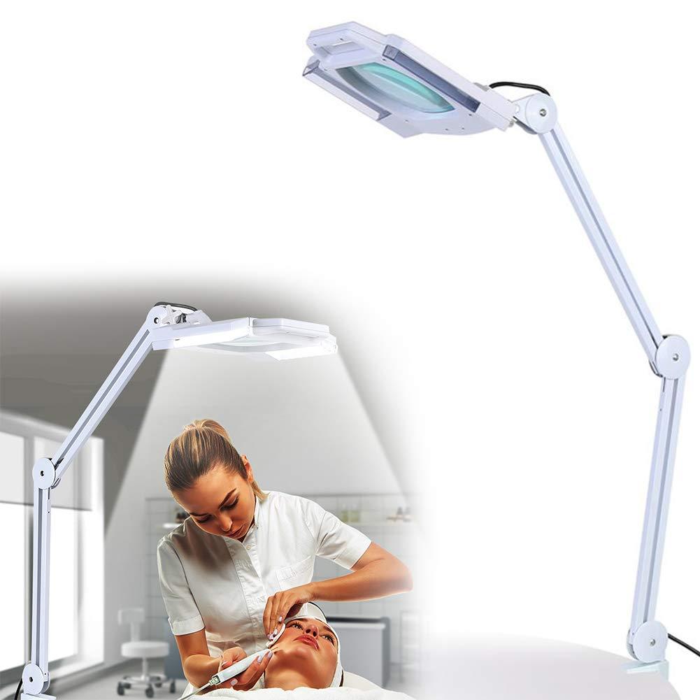 24 LED Lupenleuchte 5X Lupenlampe Arbeitsplatzlampe Kosmetiklampe Kosmetikleuchte Vergrößerungslampe mit Clamp Swivel, 22W