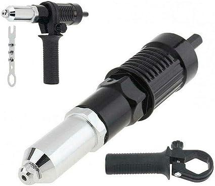 strumento di rivettatura Adattatore per trapano per pistola elettrica senza fili con testa di rivetto e chiave a manico da 2,4//3,2//4,0//4,8 mm di diametro