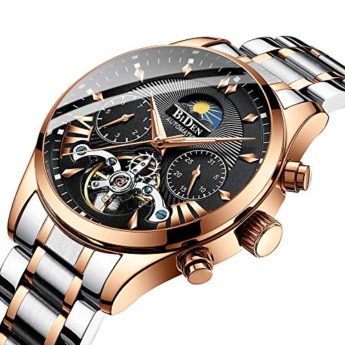 Fashion Automatic Men's Watches Tourbillon Mechanical Wristwatch, Luxury Luminous Skeleton Waterproof, Stainless Steel Bands in Gold-Toned -