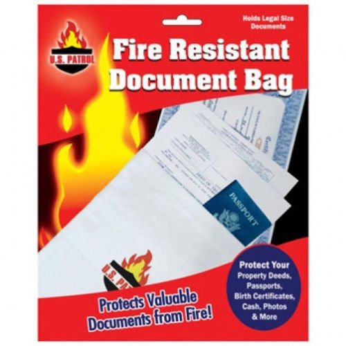 Fire Resistant Document Bag Safe Storage Cash Jewelry Passport 10''X15'' fireproof by USA