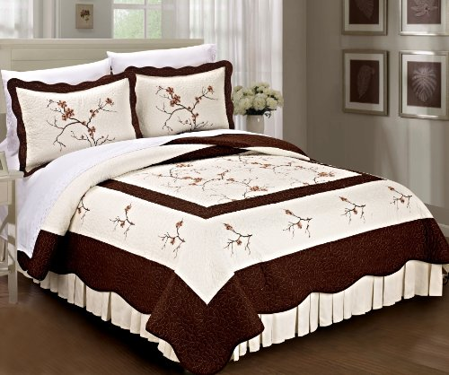 Serenta Classic Embroidered 100% Cotton Bedspread Quilt B...