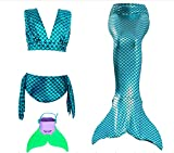 Chenzendi Girls Swimable Mermaid Tail with Monofin Swimsuit Sets Costume (150cm/9-10 Years, Blue2)