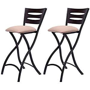 Amazon Com Costway Set Of 2 Folding Bar Stools Counter