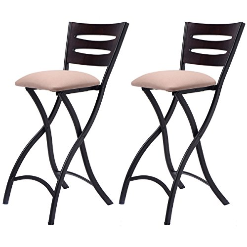 COSTWAY Set of 2 Folding Bar Stools Counter Height Bistro Dining Kitchen Pub (Bistro Counter)