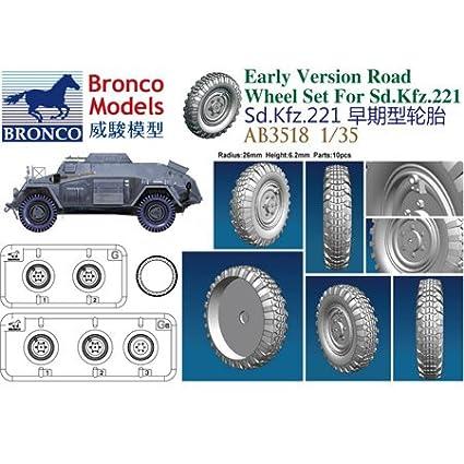Early Versi/ón /Accesorios de construcci/ón sdkfz.221/Road Wheel Set Unbekannt Bronco Models ab3518/