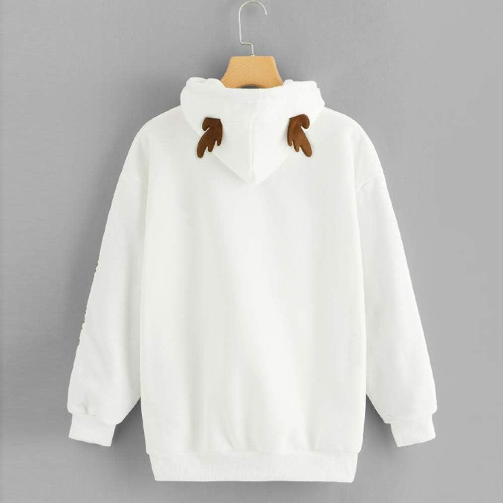 2XL,White Hoodies O-Neck Long Sleeve Cotton Casual Shirt Sweatshirt Woaills-Tops Sweaters for Women