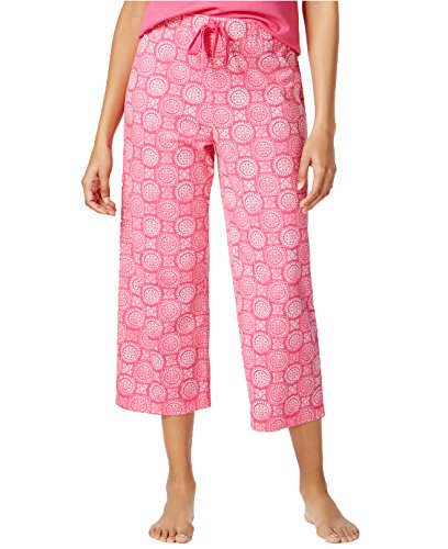Charter Club Women's Printed Cotton Knit Cropped Pajama Pants (XXXL, Tile Stamp) by Charter Club
