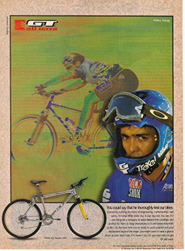 "Magazine Print Ad: 1995 GT All Terra Team LTS Bicycle, Cyclist Mike King,"".he thoroughly tests our bikes"""