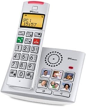 SPC Telecom 7009 - Teléfono fijo digital (inalámbrico, pantalla LCD, identificador de llamadas), plateado: Amazon.es: Electrónica