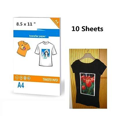 10 hojas de papel de transferencia de camisetas oscuras para impresoras, tamaño 8.5 x 11 pulgadas, papel A4: Oficina y papelería