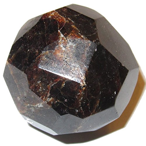 Garnet Polygon Red 01 Multi Faceted Cut Ball Crystal Energy Dispersing Stone Geometry 1.5