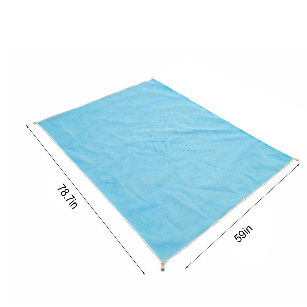 砂Freeビーチマット – キャンプ不可欠サンドと汚れフリータオルマット – Extra Large耐久性ポリエステルキャンプ毛布 – Lovin B071W8CJ61 Medium|ブルー ブルー Medium