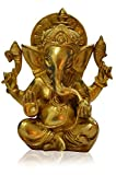 Ganesh, Ganpati, Indian Hand Crafted Religious Sculpture of Ganesha, Antique Look Solid Brass Artifact, Vintage Decorative, Valuable Collection, Rustic Finish, Vintage Religious Gift, Home Decor (7.5 X 6.5 X 3.5 Inches)