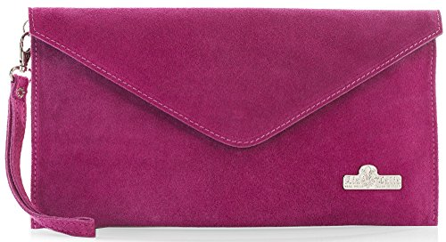 Suede Cotton Hot Pink Evening Envelope Lining LEAH Clutch Leather LIATALIA Bag Italian with wcCB5q77AZ