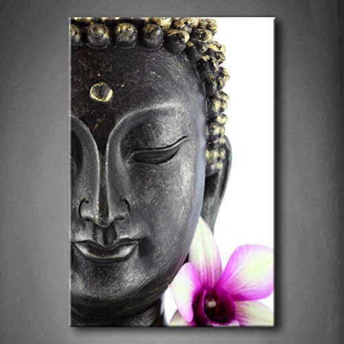 Purple Buddha Statue With White And Purple Flower Wall Art Painting Pictures Print On Canvas Flower The Picture For Home Modern Decoration (Stretched By Wooden Frame,Ready To - Art Chinese Flower Lotus