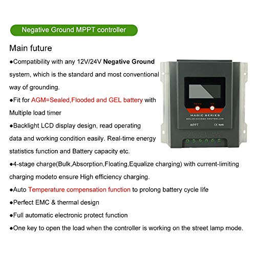 PowMr MPPT Charge Controller 30A - Negative Ground 12V/24V auto, Weatherproof Solar Charge for Sealed/Gel/Flooded Batteries, LCD Display Energy-Recording and Current-Recording by PowMr (Image #1)