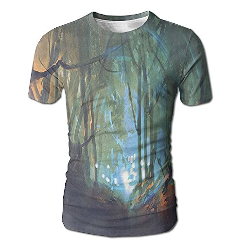 Kooiico Mens Whimsical Forest Reflection In Lake Deep Dark Mystical Artsy Surreal Fashion Tee White XL]()