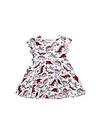 Matoen Toddler Kids Baby Girls Cartoon Dinosaur Print Sun Dress Clothes Outfits