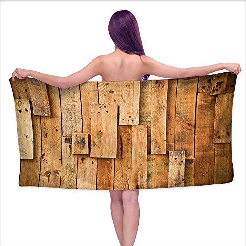 Dallas Cowboys Cabinet Style Wood - Gym Towel Wooden Lodge Style Hardwood Planks Image Print Farmhouse Grunge Design for Bathroom, Shower Towel, Gym W35 x L12 Salmon Orange Burnt Orange