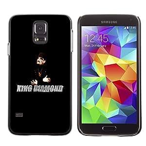 Qstar Arte & diseño plástico duro Fundas Cover Cubre Hard Case Cover para SAMSUNG Galaxy S5 V / i9600 / SM-G900F / SM-G900M / SM-G900A / SM-G900T / SM-G900W8 ( King Diamonds Man Magician Black Hat Art)