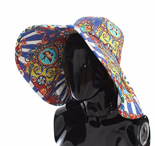 Dolce & Gabbana Multi-Color Fedora Bucket Trilby Carretto Print Wide Brim Hat 58/L by Dolce & Gabbana