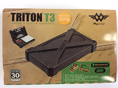 Triton T3 Digital Scale 400G X 0 01 Precision W  Removable Stainless Tray And Lid Impact Protection System  Silicone Drop Shock Resistant Non Slip Protective Case Magnetic Lock 30Yr International Warranty