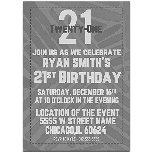 Amazon Com Grey Watercolor Happy 21st Birthday Party Invitations Handmade