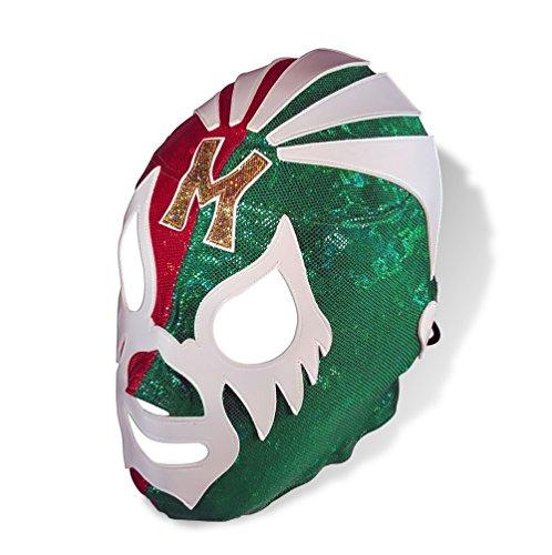 Mil Mascaras Pro-Wrestling Red W/Green Lycra Mask Adult s...