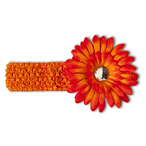 Infant Toddler Girls Crocheted Headbands with Bejeweled Daisy Flower Clip (Orange) (Crocheted Dress Girls)