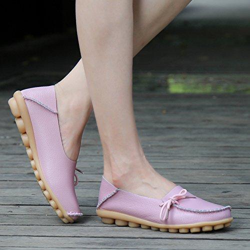 Joansam Mujeres Driving Zapatos Mocasines Con Cordones De Cuero De Vaca Zapatos De Barco Flats Pink