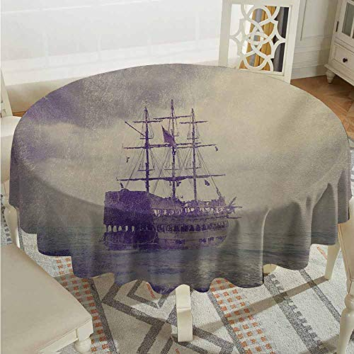 XXANS Washable Round Tablecloth,Nautical,Old Pirate Ship in The Sea Historical Legend Cruise Retro Voyage Grunge Style Art,for Banquet Decoration Dining Table Cover,35 INCH,Tan Plum