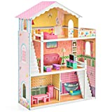 Best Choice Products Kids Large 3-Story Multicolor Wooden Open Dollhouse Playhouse Set w/ 5 Rooms, 17 Mini Furniture Pieces