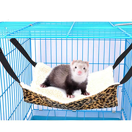 Beangel Ferret Hammock Ferret Bed Small Animal Ferret Mice Rats Chinchilla Cat Hamster Sleeper Hammock Accessories (Leopard Print)