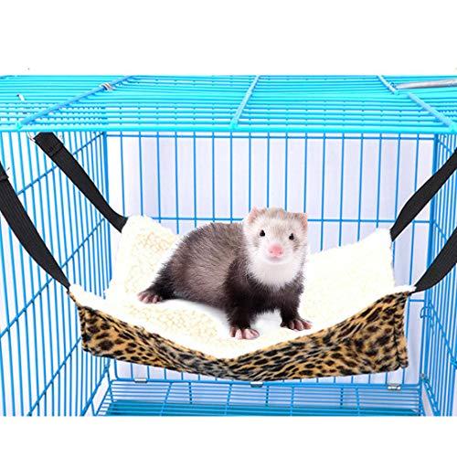 (Beangel Ferret Hammock Ferret Bed Small Animal Ferret Mice Rats Chinchilla Cat Hamster Sleeper Hammock Accessories (Leopard Print))