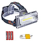 LETOUR LED Headlight, Rechargeable Headlamp, COB High Bright Flood Light Waterproof Work Light for Camping, Fishing, Jogging, Hiking, Bigger Battery Container, Super Long Working Time