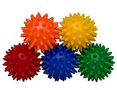 Saj (sAHHHj) Ball Sleeve - Mini Spiky Relaxation Massage - Rainbow, 5-Count Gift Set