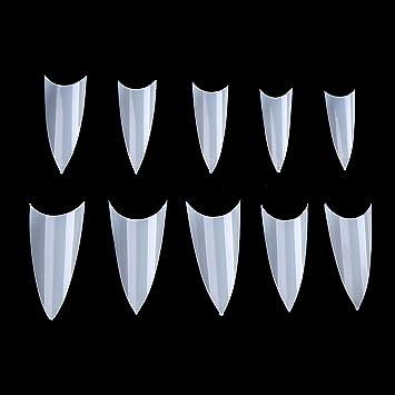 Yimart® 500 piezas de uñas acrílicas naturales Stiletto Artificial Fake Nail Tips 10 tamaños Nail Art Tips uñas postizas: Amazon.es: Belleza