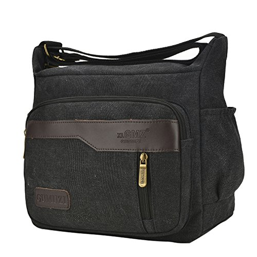 Fabuxry Casual Canvas Cross Body Bags Handbags Shoulder Bags Travel Purses (Black) by Fabuxry
