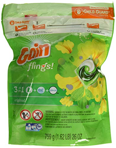 Gain Flings! 3 in 1 Detergent + Oxi Boost + Febreze Freshness, Original Scent Laundry Detergent, 31 Count NT WGT 26 oz